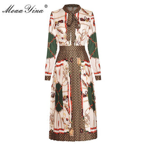 Fashion Designer dress Spring Autumn Women's Dress Long sleeve Vintage Print Pleated Dresses