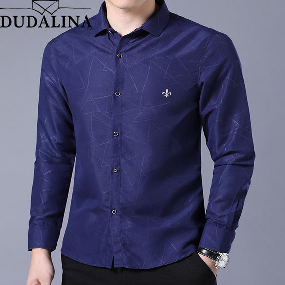 Dudalina Shirt Male Geometric Casual Brand Clothes Men Shirt 2020 Long Sleeve Formal Business Man Shirt Slim Fit Designer Dress