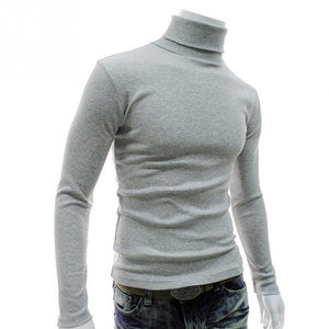 New Autumn Mens Pullover Casual Knitted Sweaters Male Turtleneck Man's Black Solid Knitwear Slim Brand Clothing Sweater