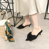 Pointed Toe Women Slippers Ladies Summer Outside Mules Shoes Shallow Flats Bow Design Thin Low Heels Sandals Slides Beach Shoes