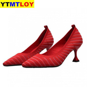 Pointed Toe Fetish Luxury Designer Woman Extreme Mules Super High Heels Women Sexy Shoes Ladies Pumps Flying weaving  Casual