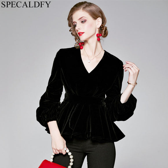 2020 Autumn Winter Velvet Blouse Womens Tops And Blouses High Quality Fashion Runway Designer Ruffle Hem Elegant Blouse Shirt