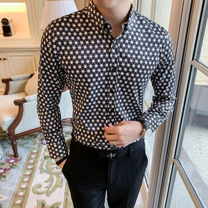 Retro Brand Casual Shirts Men 2020 Designer Shirt Men Dress Shirt Dot Printing Stylish Long Sleeve Lapel Neck Streetwear Tops