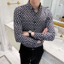 Load image into Gallery viewer, Retro Brand Casual Shirts Men 2020 Designer Shirt Men Dress Shirt Dot Printing Stylish Long Sleeve Lapel Neck Streetwear Tops