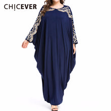 Load image into Gallery viewer, CHICEVER Plus Size Quality New Arab Elegant Loose Abaya Kaftan Islamic Fashion Muslim Dress Clothing Design Women Navy Blue New