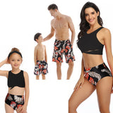 Matching Family Father Mother Son Daughter Bikini Swimsuit For Children Kids Beach Short Swimwear Women Bathing Suit bodysuit