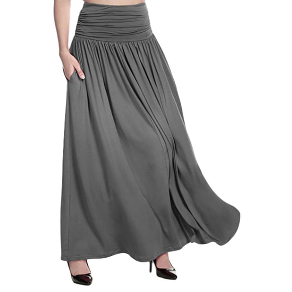 Women'S Summer Skirts High Waist Line Design Solid Maxi Skirt Ladies Casual Swing Gypsy Long Skirt Plus Size Gonne Donna*