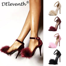 Load image into Gallery viewer, Fashion 11cm Heels Designers Summer Shoes Women Stiletto Sandalen Open Toe Fluff Strappy Thin High Heels Lace Up Fur Sandals