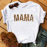 Maycaur Women T-Shirt Lip Leopard Heart Print T Shirt Women Summer Casual White Tops Loose Short Sleeve Tshirt Camisas Mujer