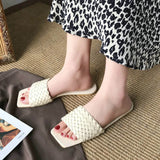 Shoes Women Slippers Weave Leather Flat Slides Ladies Sandals Summer Open Toe Sandals Outdoor Beach Flip Flops 2020 New Design