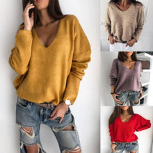 Load image into Gallery viewer, Autumn Winter Soft Plush Women Sweater Loose Solid Color V Neck Sweaters Pullovers Batwing Sleeve Pullover Sweater Womens Top