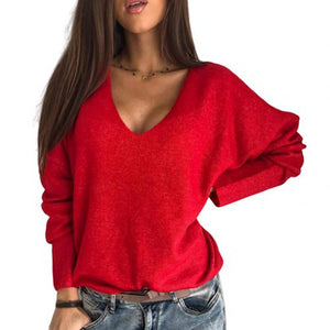 Autumn Winter Soft Plush Women Sweater Loose Solid Color V Neck Sweaters Pullovers Batwing Sleeve Pullover Sweater Womens Top