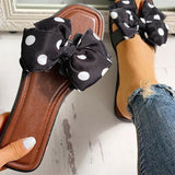 New Women Flats Slippers Polka Dot Bowknot Design Open Toe Sandals Female Flip Flops Comfort Slides Fashion Ladies Beach Shoes