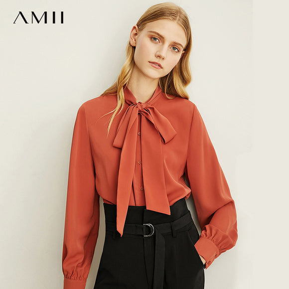 Amii  Minimal Design Feels  Professional bow neck Chiffon Shirts Women's  New Casual Loose Tie Shirts tops  11930321