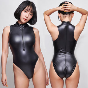 LEOHEX 2020 Sexy Matte Black Leotards Front Double Open Zipper Sleeveless Bodysuit One Piece Swimwear Women Swimsuits Japanese