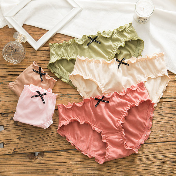 SP&CITY Cute Bow Underwear Women Pleated Lace Seamless Underpants Cotton Solid Panties Middle Waist Lingerie Lovely Girl Briefs