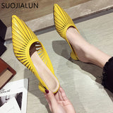 SUOJIALUN 2020 Summer New Designer Slippers Women Mules Shoes Fashion Stripe Slides Ladies Brand Mules Female Luxury Slippers