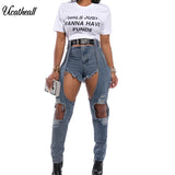 Slim Holow Out  Decoration Streewear Pants For Women Mid Waist Jeans Casual Design Ladies DenimTrousers