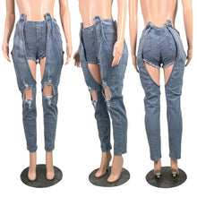 Load image into Gallery viewer, Slim Holow Out  Decoration Streewear Pants For Women Mid Waist Jeans Casual Design Ladies DenimTrousers
