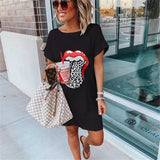 Fashion Women Summer Casual Loose Dress for Streetwear Patchwork Design O-Neck Short Sleeve Big Mouth Print Pullovers Dress
