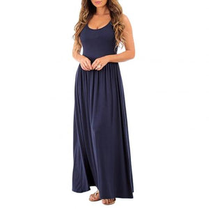 2020 Summer Women Solid Color Pleated Sleeveless Round Neck Maxi Dress Women's Casual Solid Color sundress Pleated Design