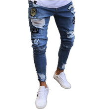 Load image into Gallery viewer, 3 Styles Men Stretchy Ripped Skinny  Moto & Biker Embroidery Print Jeans Destroyed Hole  Slim Fit Denim  High Quality Jean