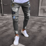 3 Styles Men Stretchy Ripped Skinny  Moto & Biker Embroidery Print Jeans Destroyed Hole  Slim Fit Denim  High Quality Jean