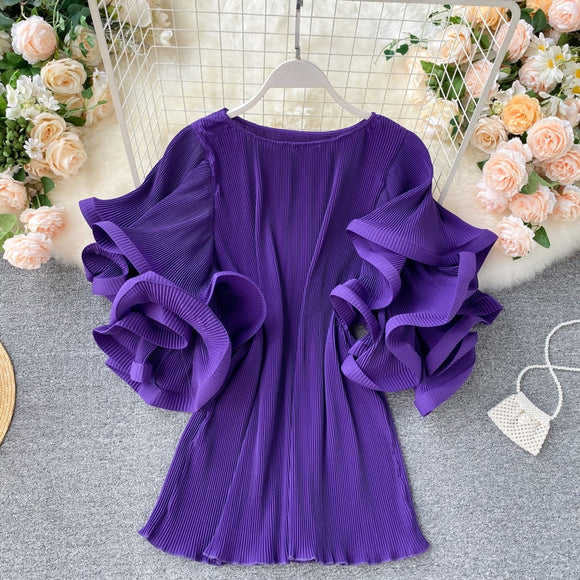 Women's Shirt Tops Ins Design Sense butterfly Sleeve Loose Pleated Chiffon Shirt Female Summer Solid Tops 2020 New Tide ML876