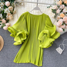 Load image into Gallery viewer, Women's Shirt Tops Ins Design Sense butterfly Sleeve Loose Pleated Chiffon Shirt Female Summer Solid Tops 2020 New Tide ML876