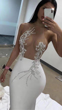 Load image into Gallery viewer, Hot Summer Sexy Mesh Beading Knee Length Rayon Bandage Dress 2020 Designer Fashion Party Dress Vestido