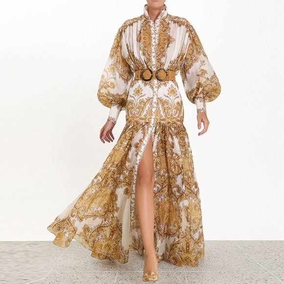 Runway Designer Woman Maxi Dress High Waist Puff Sleeve Sashes Gold Floral Print Single Breasted Split Long Dress