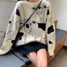 Load image into Gallery viewer, Vintage Casual Loose Lazy Cow Sweater Female Korean Harajuku Women's Sweaters Japanese Kawaii Cute Ulzzang Clothing For Women