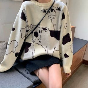 Vintage Casual Loose Lazy Cow Sweater Female Korean Harajuku Women's Sweaters Japanese Kawaii Cute Ulzzang Clothing For Women