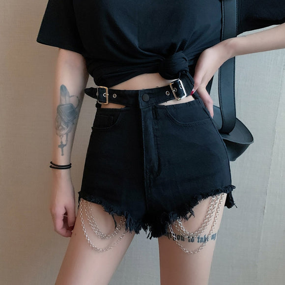 Rosetic New Ripped Jeans Women Denim Shorts Summer Black Gothic Chain Buckle Fashion Punk Mini Shorts Sexy Goth Girl High Waist