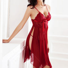 Load image into Gallery viewer, Women Nightgown Hot Nightwear Sexy Lingerie Lace Slits Nightdress V-neck Nightie Vintage Sleepwear Female Pijama embroidery