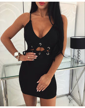 Load image into Gallery viewer, Women Summer Dress Sexy V-Neck Sling Sleeve Mini Dress Bandage Design Ladies Bodycon Dress Solid Color Strapless Dress