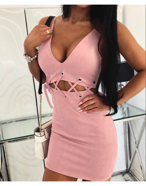 Women Summer Dress Sexy V-Neck Sling Sleeve Mini Dress Bandage Design Ladies Bodycon Dress Solid Color Strapless Dress
