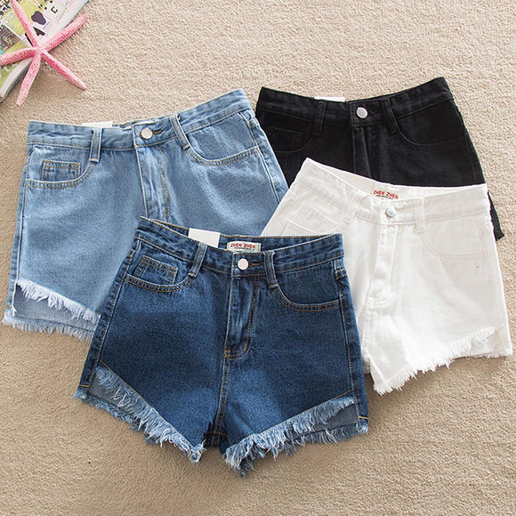 Denim Tight Bum Shorts Women Jeans High Waist Sexy Plus Size 2020 Summer Streetwear Casual Vintage Skinny Slim Solid Tassel Mini
