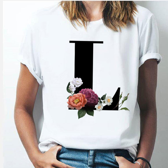 Vogue 26 alphabet letter women T-shirt Harajuku A To Z Alphabet combination flowers Short Sleeve casual Korean Style Tops female