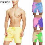 VERTVIE Color-changing Beach Shorts Men Tie Dye Swimwear Beach Pants Warm Color Discoloration Shorts Swim Surfing Board Shorts