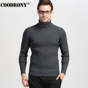 COODRONY Winter Thick Warm Cashmere Sweater Men Turtleneck Mens Sweaters Slim Fit Pullover Men Classic Wool Knitwear Pull Homme