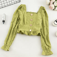 Load image into Gallery viewer, Short Design Navel Square Collar Ruffle Long Sleeve Shirt Slim Front Button Black Green Burgundy White Blouse Crop Top Women