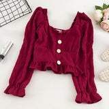 Short Design Navel Square Collar Ruffle Long Sleeve Shirt Slim Front Button Black Green Burgundy White Blouse Crop Top Women