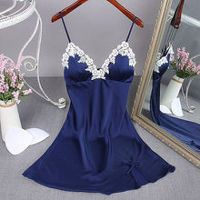 Load image into Gallery viewer, Summer Nightgowns Satin Nightgown Female Home Dress Nightwear Sexy Lace Sleepwear Dress Faux Silk Female Nighties Suit 2020 New