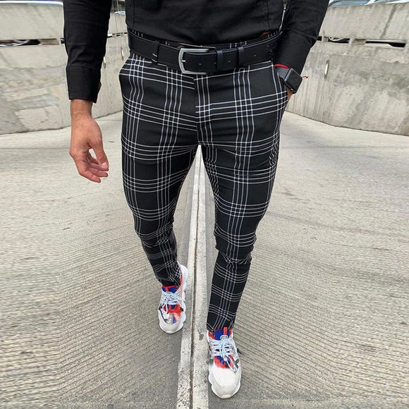 Men's Casual Pants Plaid Social Slim Fit Black Trousers Zipper Mid Waist Skinny Business Office Work Party Male Spring Stretchy