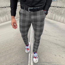 Load image into Gallery viewer, Men's Casual Pants Plaid Social Slim Fit Black Trousers Zipper Mid Waist Skinny Business Office Work Party Male Spring Stretchy