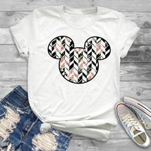 Load image into Gallery viewer, Women T-Shirt Leopard Printed Minnie Graphic Flower T Shirt Mouse Mickey Ear Tee Shirt Women Tee Female T-shirt Tops Hipster