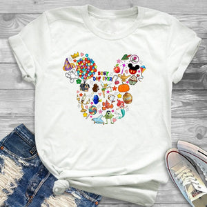 Women T-Shirt Leopard Printed Minnie Graphic Flower T Shirt Mouse Mickey Ear Tee Shirt Women Tee Female T-shirt Tops Hipster