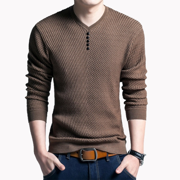 TFETTERS 2020 Men Sweater Casual V-Neck Pullover Men Spring Autumn Slim Fit Long Sleeve Mens Sweater Knitted shirt Homme