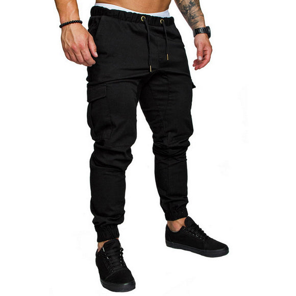 Srping Autumn Casual Men Pants Drawstring Elastic Waist Cargo Trouser Solid Jogger Sweatpant Side Pocket Harem Pants 2020